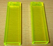 Lego 2x Säulen Stein - 1x2x5 - Neon Grün-Gelb transparent  - 2454 selten