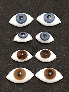 4 Sets Vintage 2 Blue 2 Brown Hand Blown Pinch Back Oval Glass Doll Eyes (Lot 1)