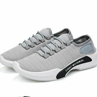 Mens Womens Slip On Sports Gym Running Shoes Mesh Grey Casual Size 9.5 Sneakers