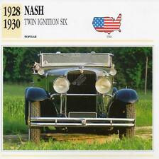 1928-1930 NASH Twin Ignition Six Classic Car Photograph / Information Maxi Card