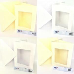Craft UK 10 A5 Rectangle Aperture Cards & envelopes Tri Fold Ivory White Hammer