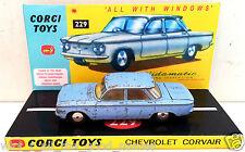 1960's CORGI 229 CHEVROLET CORVAIR SALOON Diecast Model & Custom Display Diarama