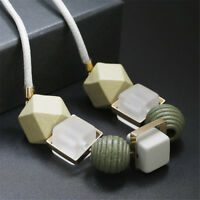 Women Geometrical Necklace Statement Pendants Wood Beads Girl Necklaces Jewelry