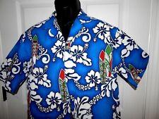 Vintage Royal Creations Hawaiian Shirt Surf Board Orchids Blue Men's Large