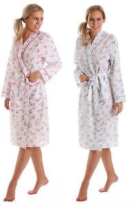 Luxury Soft Cotton Bath Robe Dressing Gown Blue Pink Plus size 10-32 Floral