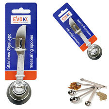 Pack of 4 Measuring Spoons Stainless Steel Kitchen Measure Cooking Fluid & Dry