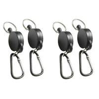 4x Retractable Recoil Key Ring Keychain Pull Retractor Card Holder Belt Clip