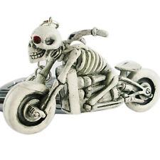 """3D SKELETON MOTORCYCLE 3"""" x 1 3/4"""" Hard RUBBER Key Ring (9703)"""