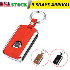 Brown TM Side Buttons Classic Genuine Leather keyless Remote Smart Key Fob case Cover Keychain for 2017 2018 2019 2020 Volvo XC60 XC90 S90 V90 XC40 Side Buttons fob Royalfox