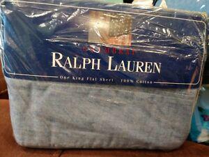 VTG RALPH LAUREN Home Blue Chambray KING Flat SHEET NEW