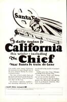 Advertising Santa Fe Luxury Railroad Trains The Chief to California 1926
