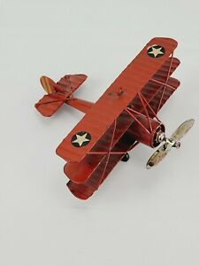 METAL TRI PLANE  VINTAGE STYLE  COLLECTOR MILITARY AIRCRAFT DECOR MODEL AIRPLANE