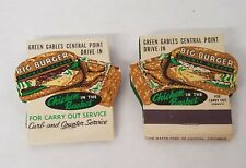 RARE VINTAGE PAIR GREEN GABLES DRIVE-IN MATCHBOOKS. NEW OLD STOCK ITEMS.