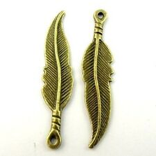 70X Vintage Style Bronze Tone Leaf Pendant Charms 35*8*2mm