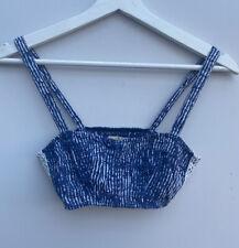 Ladies Cropped Top XS (Size 8) Blue Hollister White Stripe Crochet <MM1273
