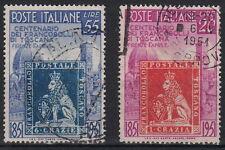 ITALIA 1951 SERIE CENT F.LLI TOSCANA 2 VALORI USATI SASSONE 653/4 OTTIMI ANNULLI