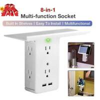 Socket Shelf 8 Port Surge Protector Wall Outlet 6 Electrical Outlet-Extend 2 USB