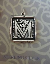 Sterling Silver 21x20mm Hvy Alphabet Letter Initial M Wax seal look Charm