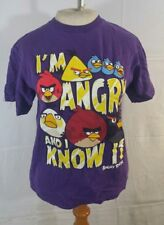 Angry Birds Youth Kids Size Large T Shirt Purple Angry Bird Red