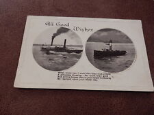 Early Greeting postcard - Dual view - Steamer ships / Boats - Shipping