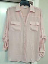 New York & Company Light Pink Long Sleeve Button Up Shirt