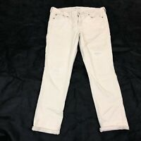 Madewell Women's beige Stretch Distressed Straight Leg Jeans Size 30