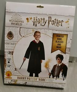 NEW Harry Potter Robe, Glasses, Wand - Fancy Dress Costume Outfit Size 7/8 Years
