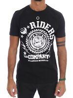 NEW $110 FRANKIE MORELLO T-shirt Black Cotton RIDERS Crewneck Short Sleeve s. L