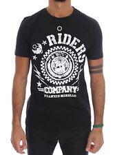 NEW $110 FRANKIE MORELLO T-shirt Black Cotton RIDERS Crewneck Short Sleeve s. XL