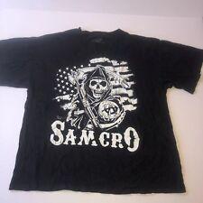 Sons Of Anarchy Prospect Samcro Skull Black Short Sleeve Shirt Men's Sz XL Flag