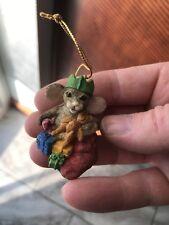 David Winter Studios Robins Merry Stocking Mouse Christmas Ornament
