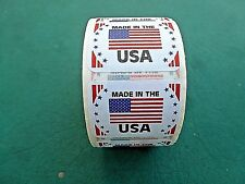 """MADE IN THE USA Flag Self Adhesive Sticker 1 1/4"""" X 1 7/8"""" Paper Finish 500 Roll"""