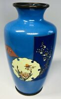 """Antique 19th Century Japanese Hand-Painted Floral Blue Vase 5"""""""