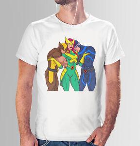 Dark Phoenix Jean Grey Loves Wolverine x Cyclops Scott Funny White T-Shirt Comic