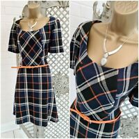 Pepperberry 💋 Navy / Orange Tartan Plaid Check Fit & Flare Dress UK 12 Curvy