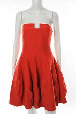 Halston Heritage Red Cotton Strapless Vanna Dress Size 8 New $475 10258216