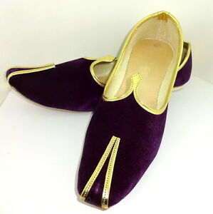 Men's Jutti RoyalPurple Velvet Mojari Handmade Party Shoe India Style Punjabi