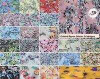 "Premium Printed Rayon/Viscos Fabric 24 designs, 58"" Wide, High Quality"