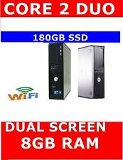 DELL 780 COMPUTER PC CORE 2 DUO DUAL SCREEN 180GB SSD 8GB RAM WIFI READY