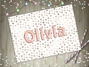 Personalised Name Balloon Rose Gold Stars A4 Laminated Kids Placemat Childrens
