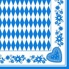 50 Servietten 3lagig 1/4-Falz 40 cm Bayrisch Blau Raute Bayern Oktoberfest Wiesn