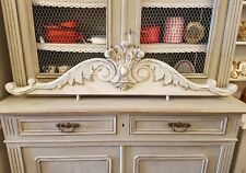 GORGEOUS LARGE ANTIQUE FRENCH SHABBY CHIC CARVED OAK CREST - C1900