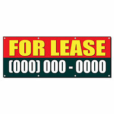FOR LEASE Custom Phone Number 4 ft x 8 ft Banner Sign w/8 Grommets
