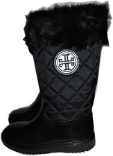 Tory Burch Rabbit Fur Lined Quilted JOEY Tall Boot Snow Black Booties 5- 35
