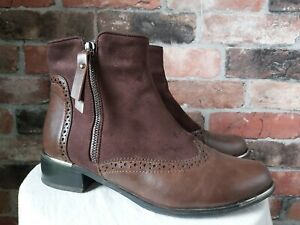 HOUSE OF FRAZER LUNAR REAL LEATHER/SUEDE BROWN ANKLE BROGUE BOOTS SIZE 5 eu 38