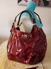 Coach Madison Patent Leather Large Shoulder Bag 15991 and Wallet Crimson Red