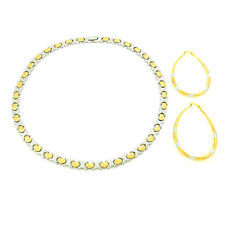 "Womens 2 Tone Hugs & Kisses I love You Necklace Bracelet Hoop Earrings Set 18"""