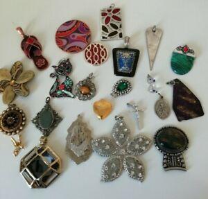 Bundle Job Lot Pendants Vintage and Modern Re-Purpose Metal Glass Locket
