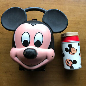 Vintage Disney Mickey Mouse Head Lunch Box by Aladdin Industries USA w Thermos
