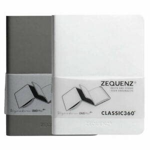 Zequenz Notebook DUO Plus+ A6, Squared/Blank, Gray/White (360-DPJ-A6-WHG-GRB)